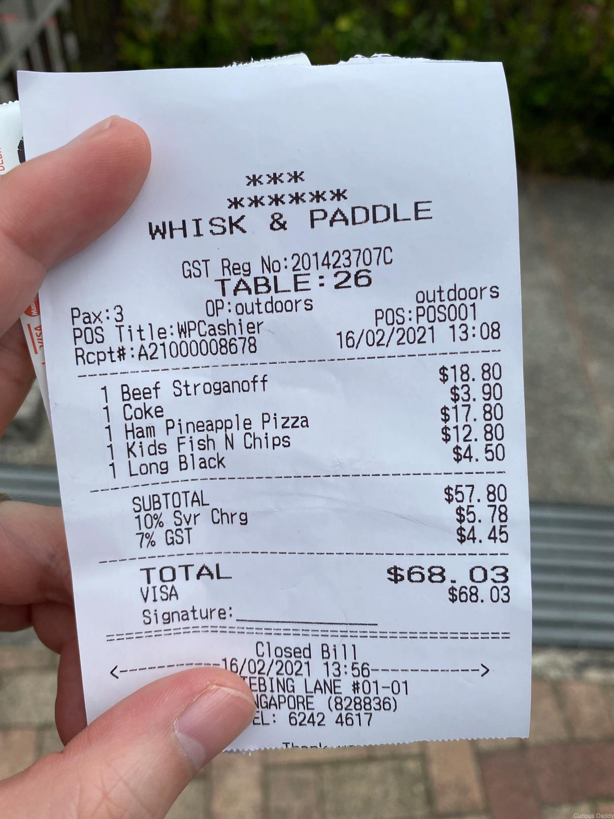 Whisk & Paddle receipt